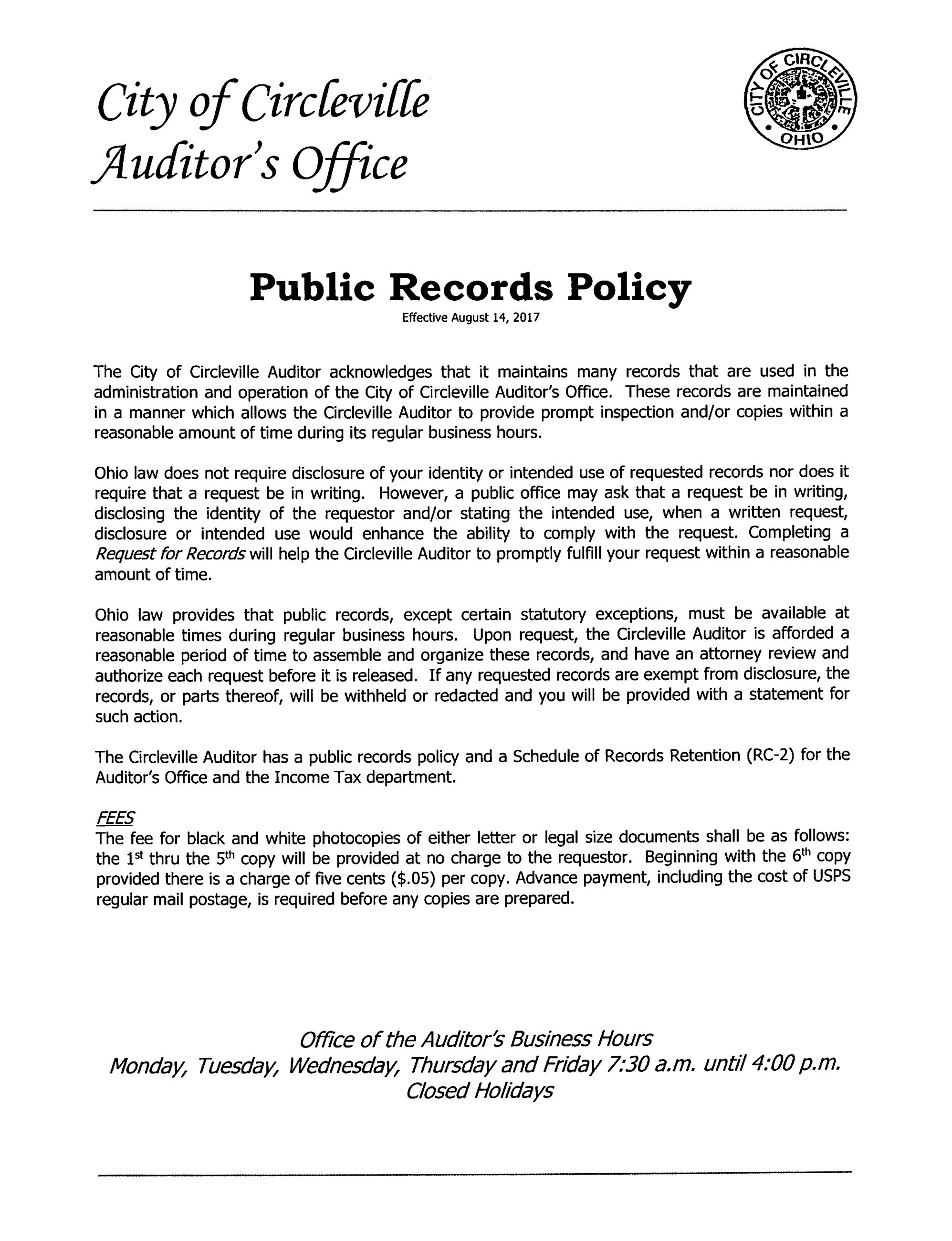 Public Records Policy
